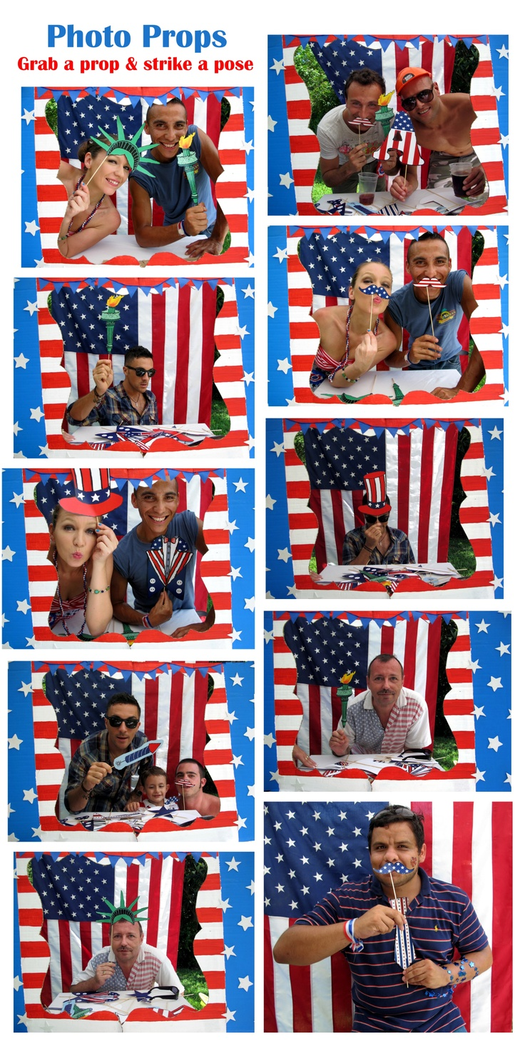 photo props collage 4th of July, now this takes the idea of a flag for photo backdrop to whole new level. Totally cute.