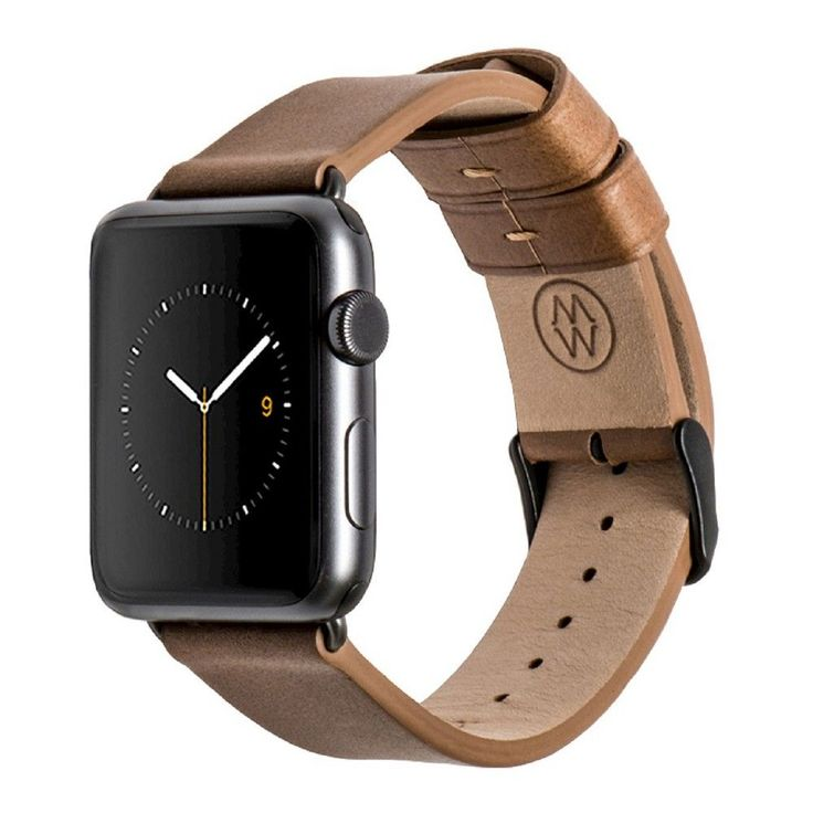 Monowear Brown Leather Band with Dark Gray Stainless steel Adapter For 42Mm Apple Watch Sport - Brown ( 8132148 ), Adult Unisex