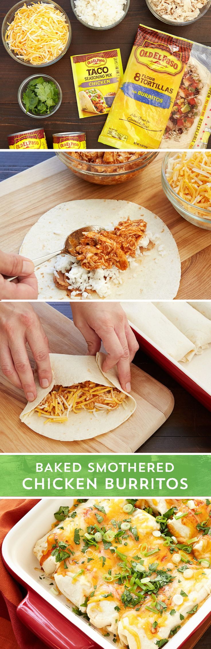 Love burritos and enchiladas? Please everyone with these easy Baked Smothered Chicken Burritos perfect for a crazy weeknight. Combine shredded chicken with Old El Paso™ enchilada sauce and Old El Paso™ chicken taco seasoning for a tasty burrito filling. Bake for 35 minutes while you get other stuff done and then drizzle with more Old El Paso™ Enchilada sauce and cheese to finish off these easy burritos. Best of all they can be made and frozen before baking and pulled out for a busy…