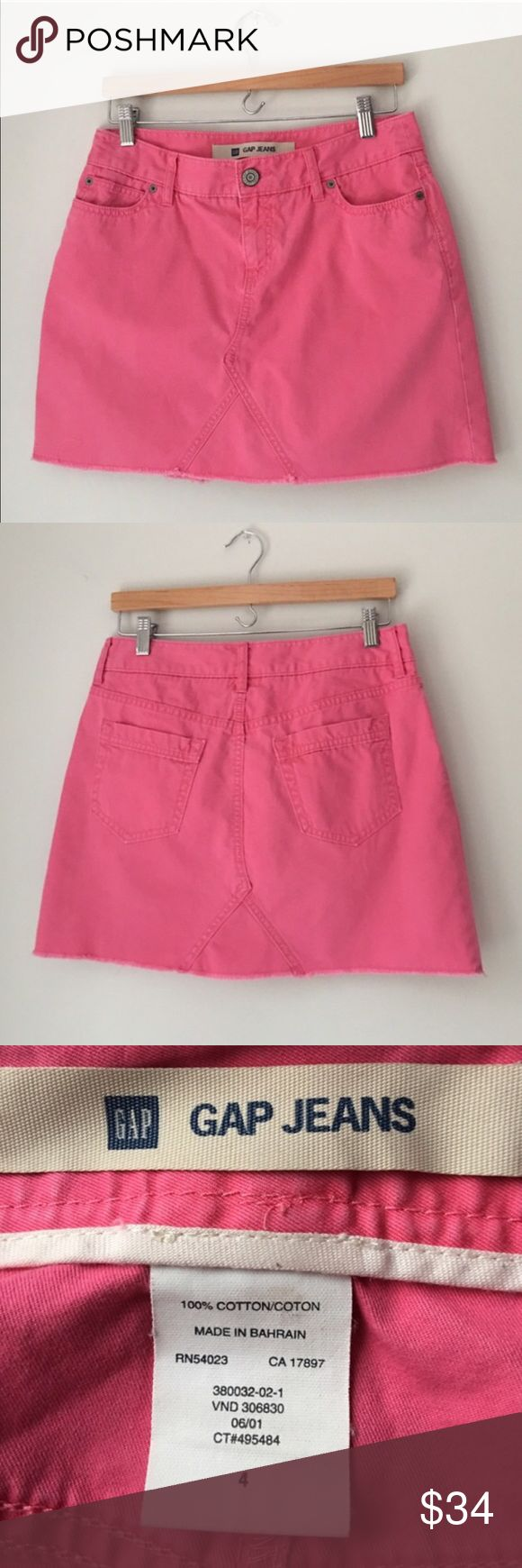 GAP Jeans Pink Denim Skirt Size 4 Beautiful pink Denim mini skirt by GAP Jeans. 2 front & 2 rear pockets. Front zip with single button closure. 100% cotton. Size 4. Excellent preowned condition. GAP Skirts Mini