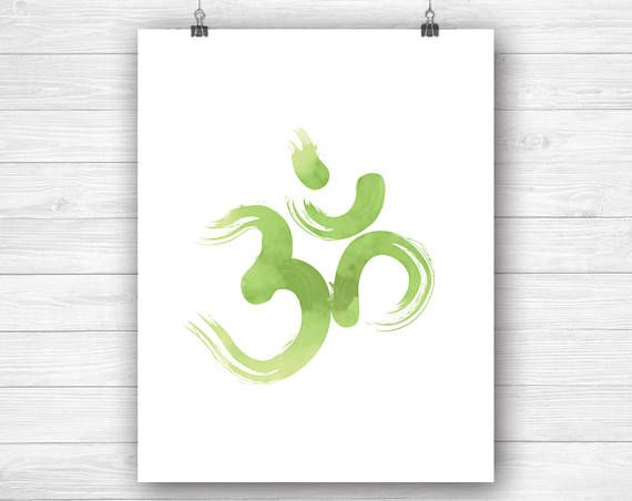 Zen om print greenery brush art download  ohm meditation yoga