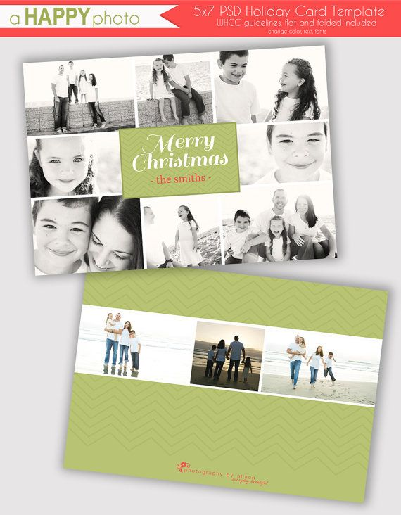 Green Multi Photo, Holiday Photo Card Template, Photographers, PSD, WHCC, 5x7 flat and folded, christmas photo card