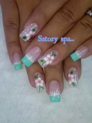 Green tipped French mani with flowers