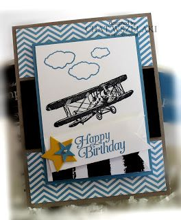 """Quick and easy card for guys made with SU SAB 2016 """"Sky is the Limit """" stamp set."""