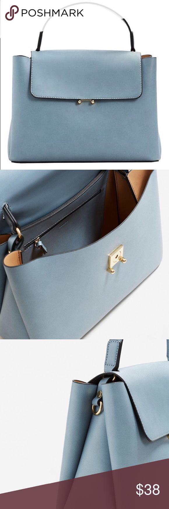 Sky blue city bag! Brand new and has the tag still! Sky blue. Not Zara, Mango. Mango and Zara are both Spaniard brands that are extremely similar. Sold out online. :) Thanks for looking! Zara Bags Satchels