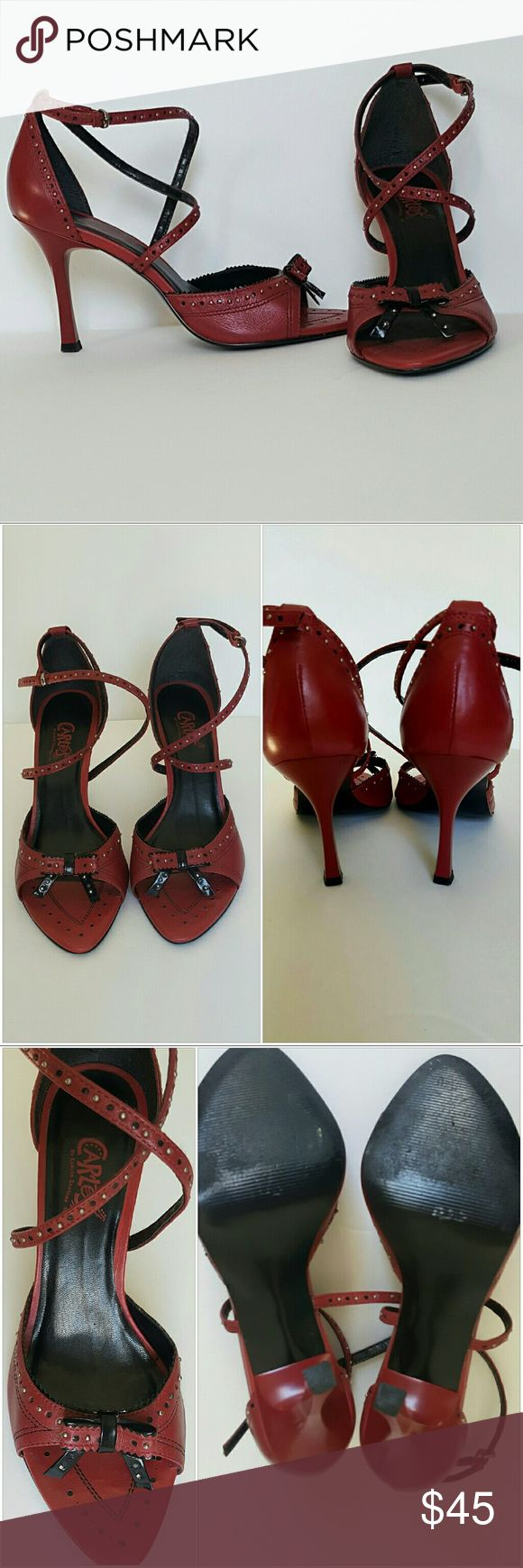 Carlos by Carlos Santana red leather sandals sz9 Carlos by Carlos Santana red studded leather ankle strap sandals  size 9 padded foot bed made in Brazil Carlos Santana Shoes