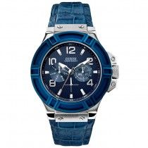 GUESS Multifunction Blue Leather Strap W0040G7