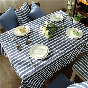 Mediterranean Blue Gray Literary Tablecloth Cotton Striped Tablecloths  Coffee Table Cloth Modern Simple Stripe Western