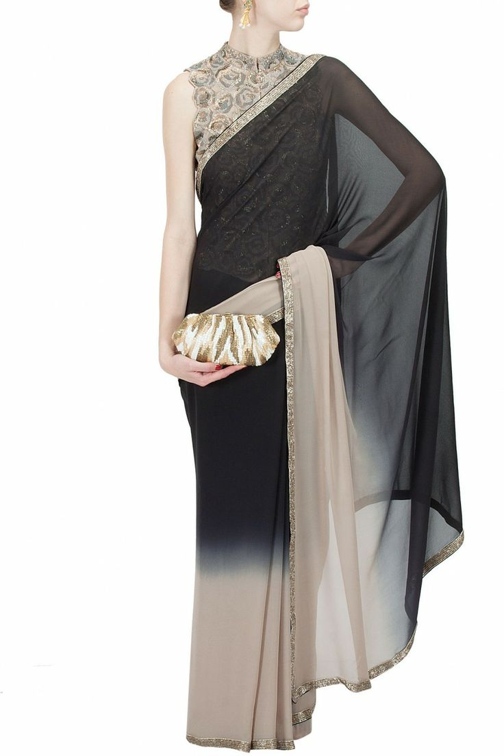 Black and sand sari with embroidered roses blouse BY NAMRATA JOSHIPURA. Shop now at perniaspopupshop.com