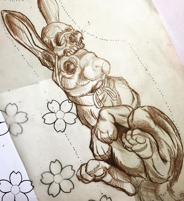 """If I didn't know this was hasenpfeffer, I'd swear it was carrots"" . . . . . #nobaddays #pma #bombshell #bombshelltattoo #edmontontattoo #yegtattoo #albertatattoos #tattooflash #tattoodesign #prismacolor #pencilcrayon #everydaydoover #rabbit #bunny #bunnyrabbit #hasenpfeffer"