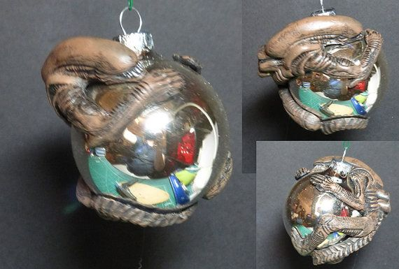 alien christmas ornament hand made hand painted by spyda on etsy