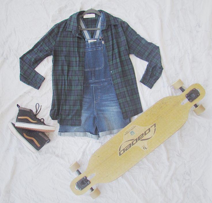 skate wear #loadedboards #beartrucks #flannel #overalls #fashion #style #asos #vans #allweather #craftedbylee #skatelife #skate #longboard