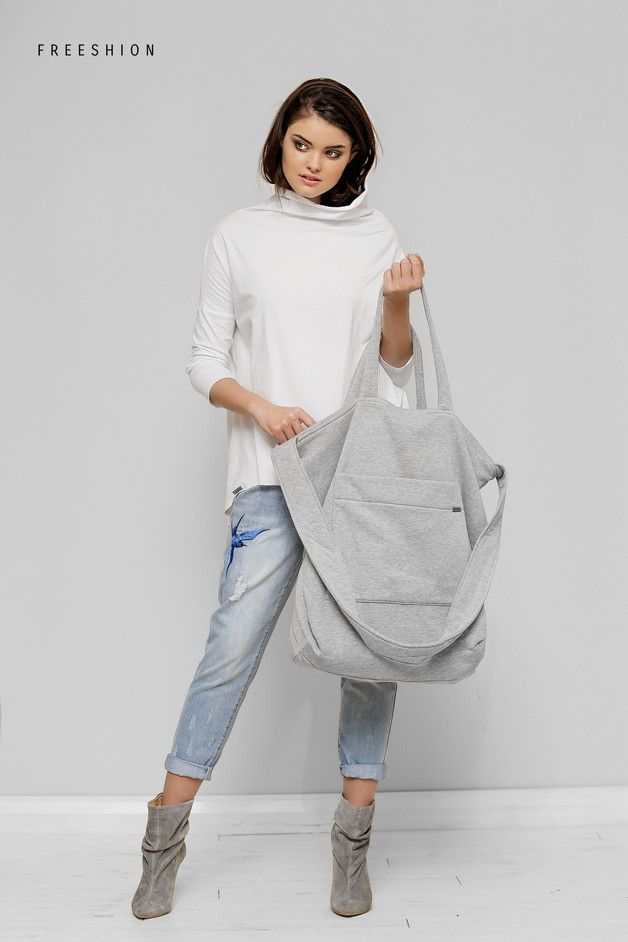 Graue oversized Tasche aus meliertem Jersey / grey oversize jersey bag made by Freeshion via DaWanda.com