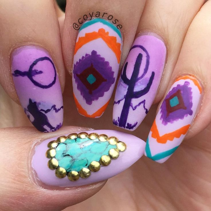 Southwestern aztec nail art. Turquoise, western, desert nails. - Best 25+ Western Nail Art Ideas Only On Pinterest Western Nails
