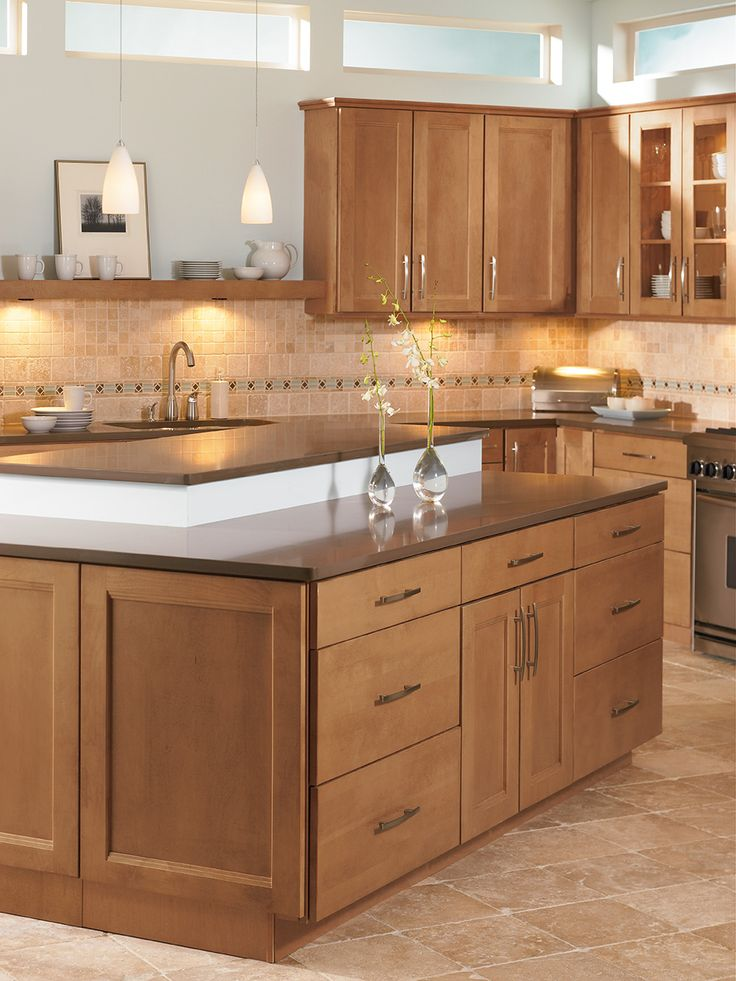Shenandoah Cabinetry Island In Solana Spice Kitchen