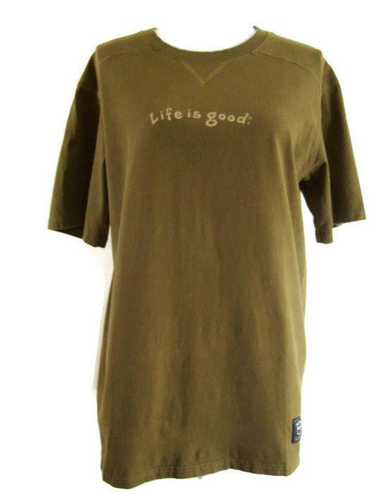 Life is Good Green Tee Shirt The Glass is Half Full Size Medium #LifeisGood #GraphicTee