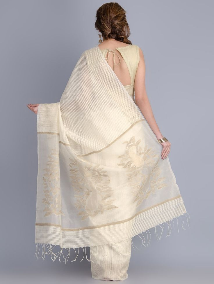 Buy White Matka Silk Handwoven Jamdani Saree Sarees Woven Graces Online at Jaypore.com                                                                                                                                                     More