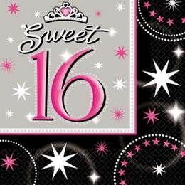 Een pakje grote servetten bedrukt met Sweet 16! verjaardag 16-jaar-ballonnen-en-slingers