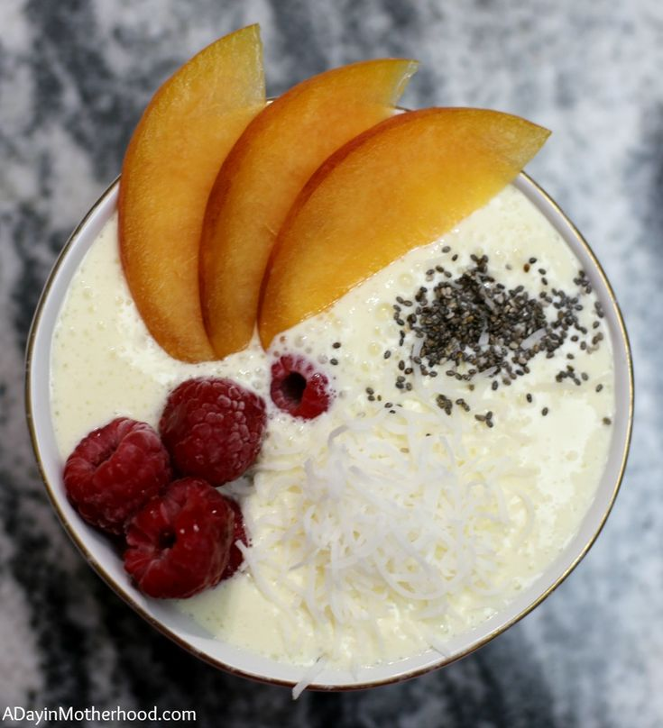 Raspberry Peach Mango Smoothie Bowl Recipe #knowYourMIlk #ad