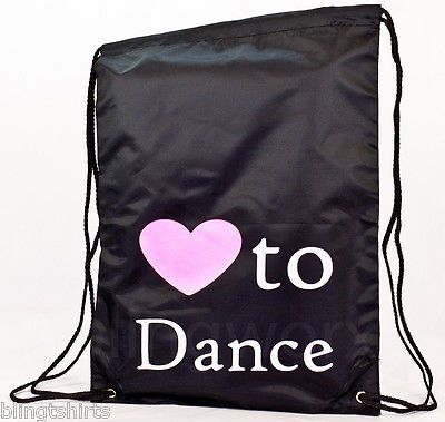Love to Dance string backpack gymsac PE school tote swimming gym student bag sac