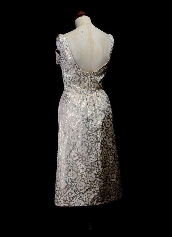 Original Vintage 1960s Metallic Gold Brocade Dress small