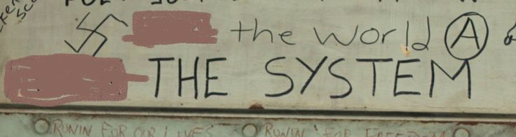 Often the swastikas on the walls of Boggo Road are accompanied by written sentiments of anti-authority, or symbols such as the anarchy symbol.