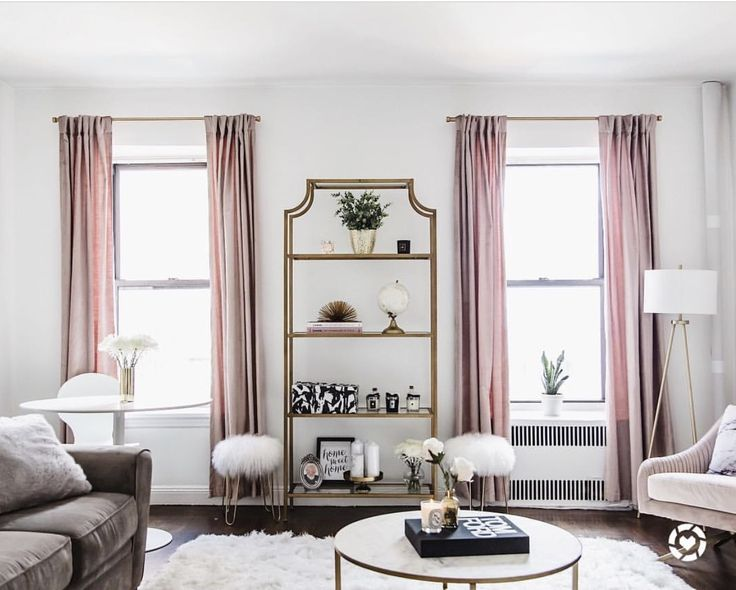 Living Room Design By @retroflame | West Elm Item: Dusty Blush Cotton  Luster Velvet Curtain; Joss U0026 Main Items: Wallace Etagere Bookcase, Dusty  Blush Roar + ...