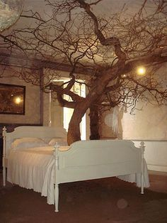 I want a tree headboard, leaf canopy, and roots for  a bench at the foot of the bed!