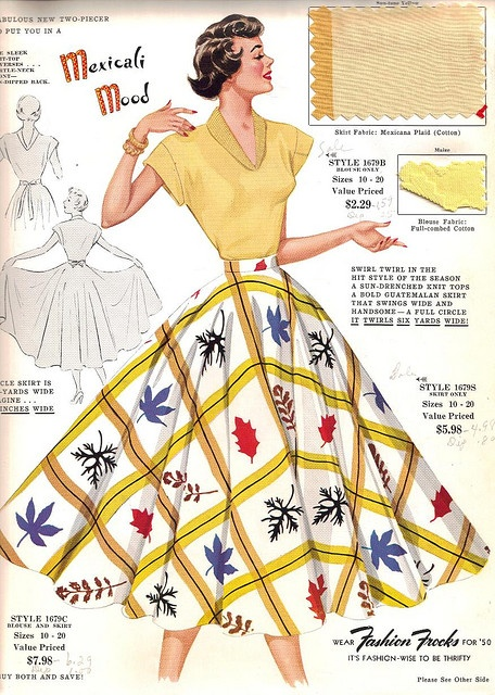 """Fashion Frocks """"Mexicali Mood"""" 1950.  Unrealistically shaped female images were not a recent innovation.  That waist can't be a realistic goal for anyone."""