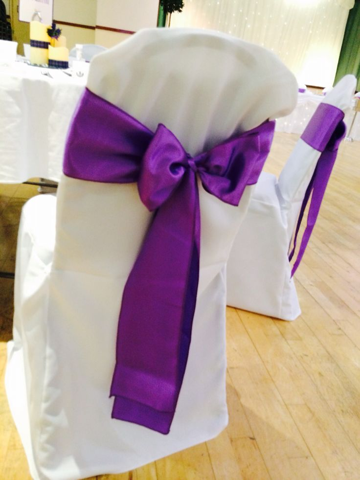 Cadburys purple satin sash on white linen (polyester) covers by Made Marvellous