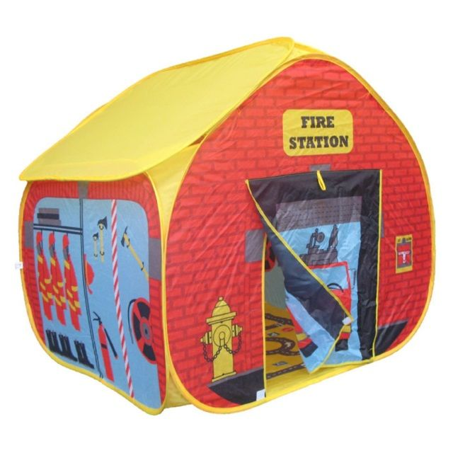 Childrens Firestation Play Tent with Streetmap Playmat from Pop it Up. #childrensplay #pretendplay #fireman
