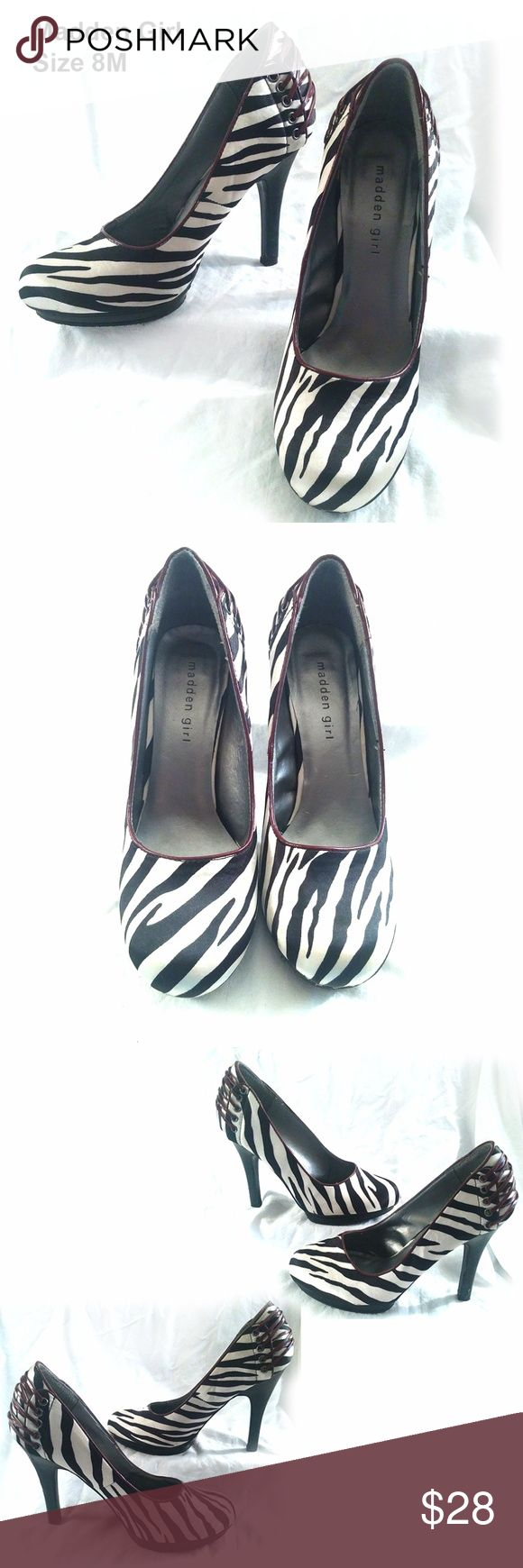 """MADDEN GIRL - Brown & Cream Zebra Heels - Size 8M CONDITION - VERY GOOD 4"""" Heels  The only thing that keeps these beauties from receiving an """"excellent"""" status is a small divet on the left heel, which could be concealed with a marker.Otherwise, the shoes are in amazing condition.  Cream and brown zebra stripe silky fabric uppers with brown laces on the heels.  Rounded toe for comfort. Madden Girl Shoes Heels"""