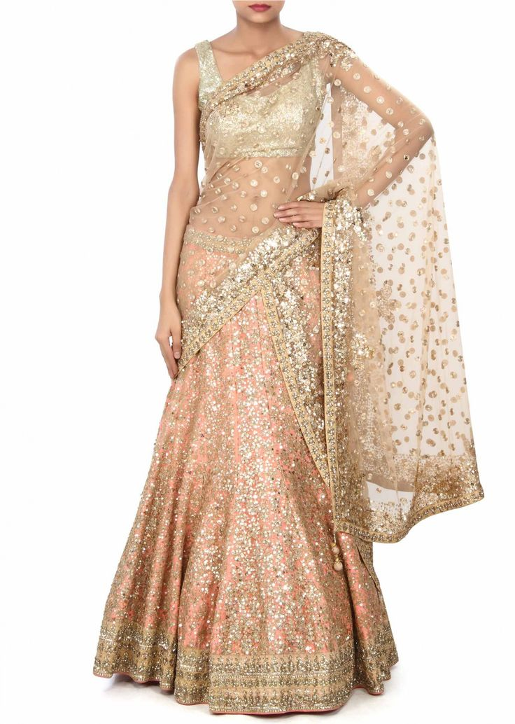 Pink lehenga enhanced in zari and sequin embroidery only on Kalki