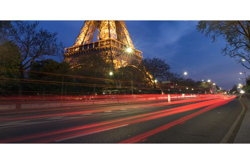 Car trails, taken at the Eiffel Tower.