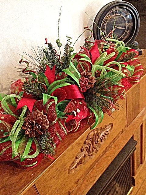 You will love displaying this Christmas Red and Lime Centerpiece on your Fireplace Mantel this Holiday season.  It is made on a wire form with