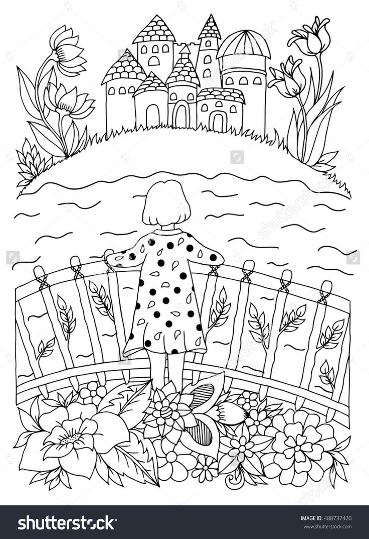 Vector Illustration Zentangl Girl On The Bridge In Flowers River Looking At Castle Coloring Book Anti Stress For Adults Black And White