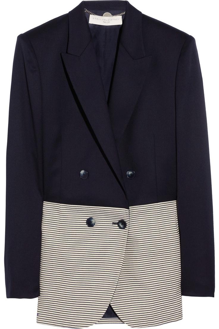 Wool-twill and cotton-seersucker blazer.