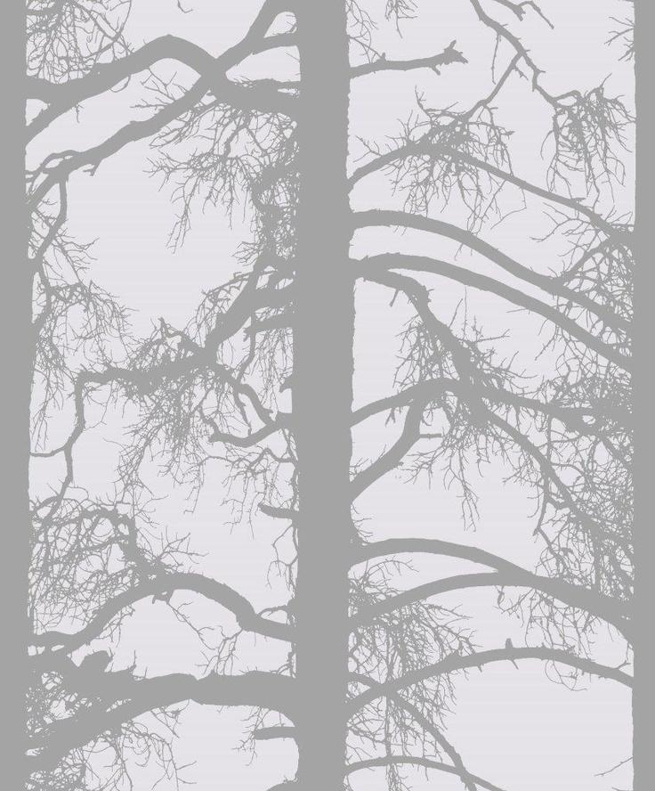 Kelohonka wallpaper, grey. Design Tanja Orsjoki