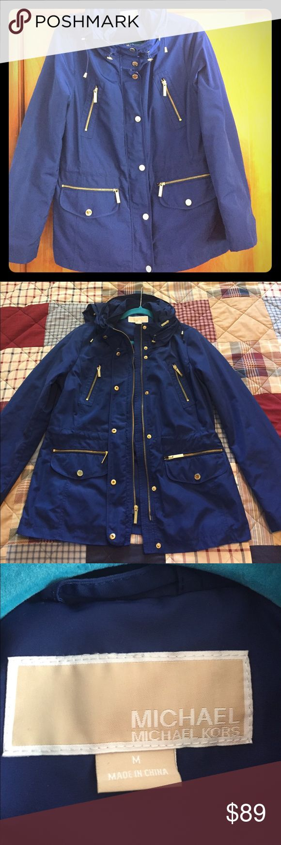 Michael Kors Navy Blue Anorak Jacket size MEDIUM Like new Michael Kors Anorak Navy Blue Jacket/Raincoat with gold buttons. Size Medium. MICHAEL Michael Kors Jackets & Coats Utility Jackets
