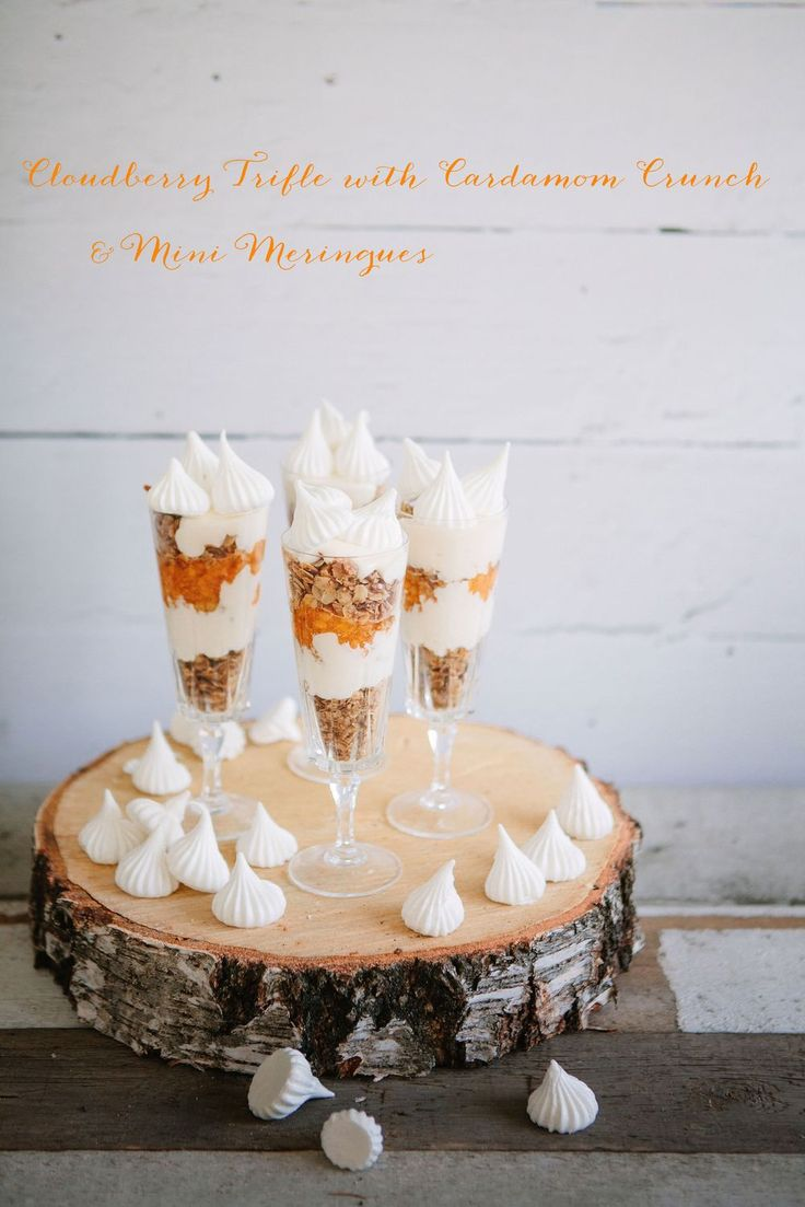 Cloudberry Triffles with Cardamom Crunch and Mini Meringue | Made by Mary