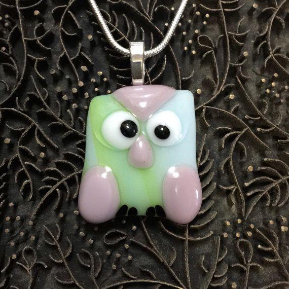 Fused Glass Pendant  Cute Owl by TrueGlassCo on Etsy