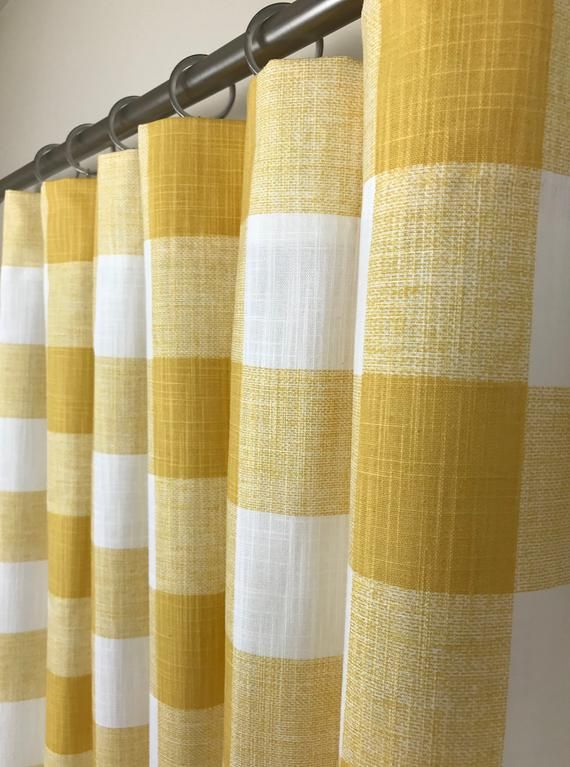 Yellow And White Slub Buffalo Check Rod Pocket Curtains Etsy In 2020 Gingham Curtains Rod Pocket Curtains Plaid Curtains