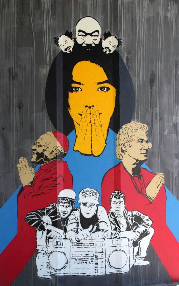 Untitled by Dariusz Paczkowski / 3fala.art.pl, at Tibetan Gallery in Wola, Warsaw. Photo: Tibetan Gallery #Tibet  #Warsaw #Poland #Polska #StreetArt #Mural #Graffiti #Urban #Art