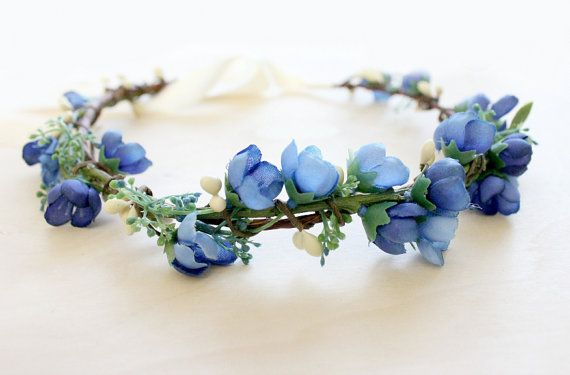 Blue Floral Crown. something blue flower crown by rosesandlemons, $35.00