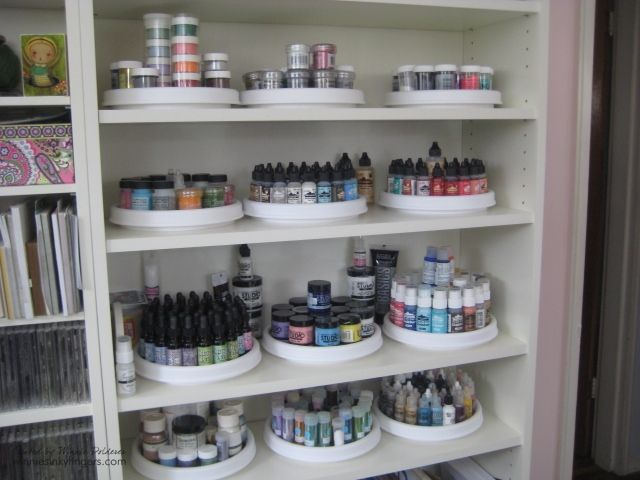I like the idea of several Lazy Susan's on one shelf for organization.  -  Winnie's Inky Fingers: My Stamp Room is Finished!