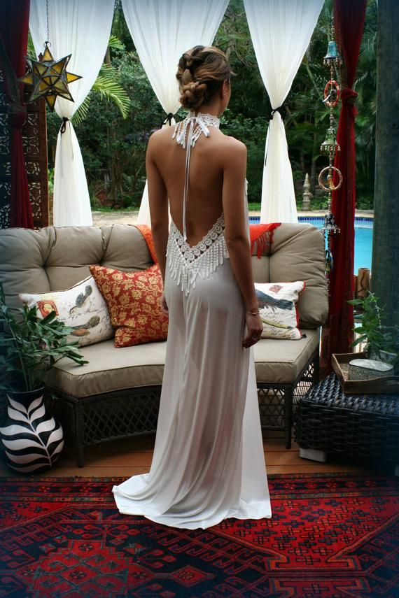 Bohemian Backless Satin Nightgown