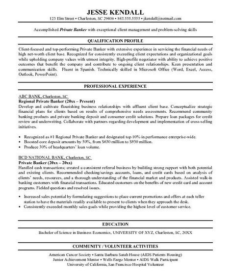 461 best Job Resume Samples images on Pinterest Job resume - personal banker resume