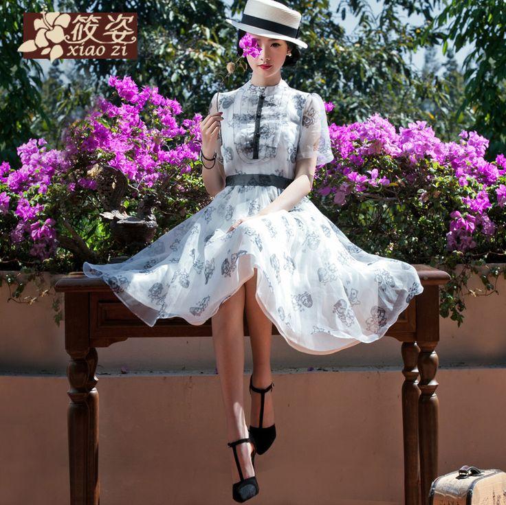 Xiao Zi cerneală rochie retro superficial 2015 primăvara noi doamnelor literare tipărite A-line fusta talie fusta
