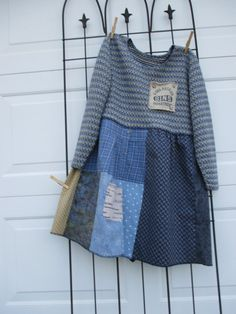 Damen, Upcycled-Kleidung, Upcycled-Pullover, Kleid / Tunika, M / L, Shabby Chic