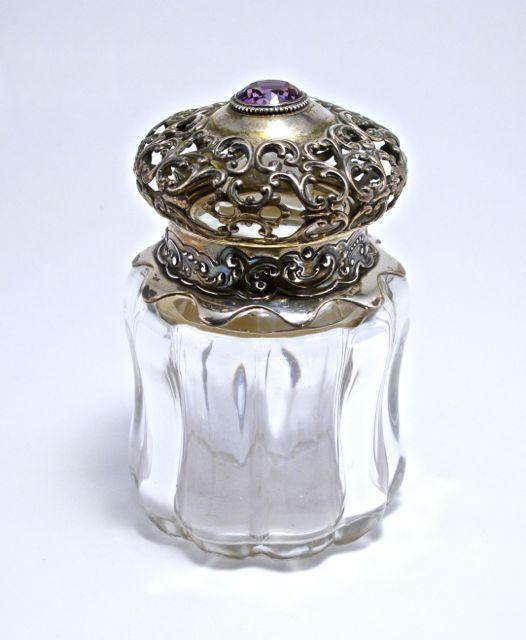 c1880 Gorham vanity bottle with stopper, fine heavy crystal, sterling silver collar and hinged openwork cover, set with large faceted amethyst. Gorham silver marks.